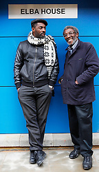 © under license to London News Pictures.  Actor Idris Elba with his father Winston Elba during the opening of Elba House, a new social housing development in Andre St, Hackney on 14th january 2011. Elba House is named after the star of The Wire and Luther. Photo credit should read: Olivia Harris/ London News Pictures