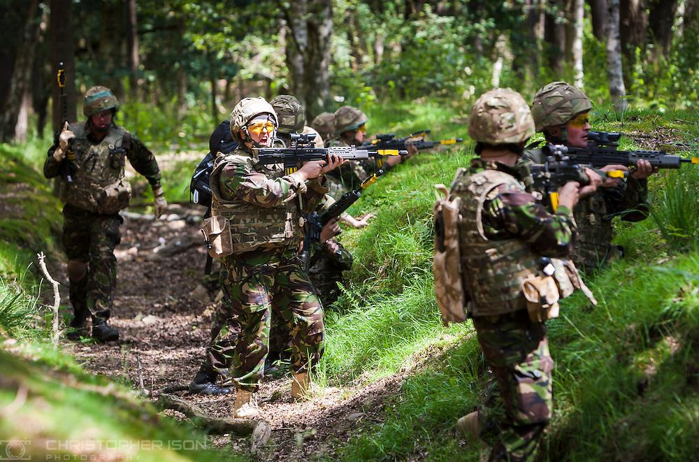 Royal Navy sailors react in an ambush scenario during training at Longmoor Camp in Hampshire.