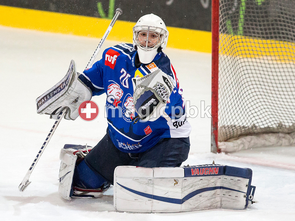 ZSC Lions goaltender Patrick Frey catches the puck during the fourth Elite B Playoff Final ice hockey game between ZSC Lions and Rapperswil-Jona Lakers in Duebendorf, Switzerland, Friday, Mar. 17, 2017. (Photo by Patrick B. Kraemer / MAGICPBK)