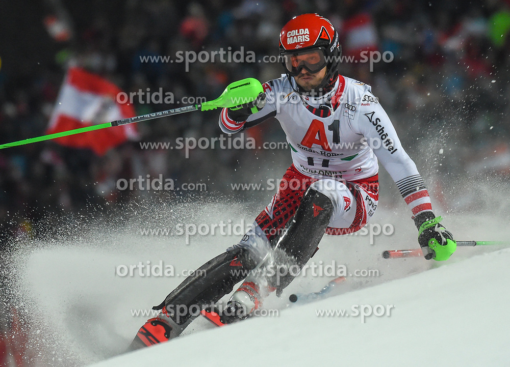 "29.01.2019, Planai, Schladming, AUT, FIS Weltcup Ski Alpin, Slalom, Herren, 1. Lauf, im Bild Christian Hirschbuehl (AUT) // Christian Hirschbuehl of Austria in action during his 1st run of men's Slalom ""the Nightrace"" of FIS ski alpine world cup at the Planai in Schladming, Austria on 2019/01/29. EXPA Pictures © 2019, PhotoCredit: EXPA/ Erich Spiess"
