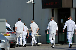 File photo dated 01/06/09 of workers walking past the Engine Plant at the Honda plant in Swindon. Honda is planning to close its plant in Swindon in three years time, according to unconfirmed reports.