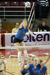 24 November 2006: Lauren Bloemke makes a running serve during a Semi-final match between the Creighton University Bluejays and the Northern Iowa University Panthers. The Tournament was held at Redbird Arena on the campus of Illinois State University in Normal Illinois.<br />