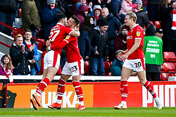 Alex Mowatt of Barnsley celebrates with teammates after scoring a goal to make it 1-0 - Mandatory by-line: Robbie Stephenson/JMP - 27/10/2018 - FOOTBALL - Oakwell Stadium - Barnsley, England - Barnsley v Bristol Rovers - Sky Bet League One