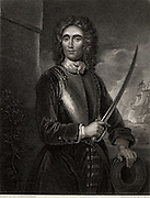 John Benbow (1653-1702) English naval commander born in Shrewsbury, Shropshire. Vice-Admiral 1701.  In the West Indies, off Santa Marta, he encountered superior French forces under Du Casse on 19 August 1702. His leg shattered by chain-shot and deserted by his captains, he died in Jamaica of his wounds in October. Remembered as 'Brave Benbow'.   Engraving after portrait by Godfrey Kneller.