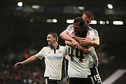 Fulham defender, Michael Madl (15) celebrating scoring with Fulham Striker, Ross McCormack (44) during the Sky Bet Championship match between Fulham and Charlton Athletic at Craven Cottage, London, England on 20 February 2016. Photo by Matthew Redman.