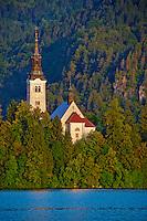 Slovenie, region de Gorenjska, le lac Bled et les Alpes Julian, eglise de l Assomption // Slovenia, Bled, Lake Bled and Julian Alps, church of the Assumption