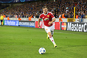 Luke Shaw of Manchester United on the ball during the Champions League Qualifying Play-Off Round match between Club Brugge and Manchester United at the Jan Breydel Stadion, Brugge, Belguim on 26 August 2015. Photo by Phil Duncan.