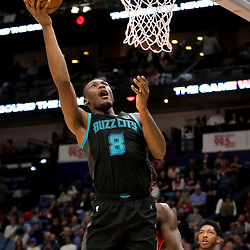 Apr 3, 2019; New Orleans, LA, USA;  Charlotte Hornets center Bismack Biyombo (8) shoots against the New Orleans Pelicans during the second quarter at the Smoothie King Center. Mandatory Credit: Derick E. Hingle-USA TODAY Sports