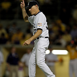 05 June 2009:  Rice head coach Wayne Graham signals for a new pitcher during a 12-9 victory by the LSU Tigers over the Rice Owls in game one of the NCAA baseball College World Series, Super Regional played at Alex Box Stadium in Baton Rouge, Louisiana.