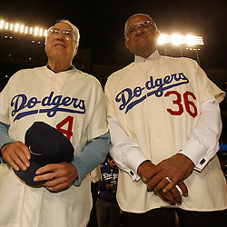 Former Dodger Duke Snider ,Left, and Don Newcombe before a National League Division Series baseball game between the Chicago Cubs and the Los Angeles Dodgers on Saturday October 4, 2008, at Dodger Stadium. (SGVN/Staff Photo by Keith Birmingham/SPORTS)