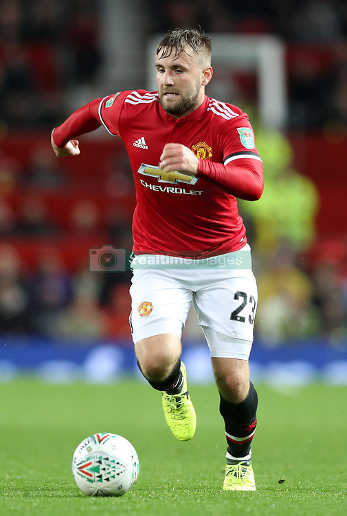 """Manchester United's Luke Shaw during the Carabao Cup, Third Round match at Old Trafford, Manchester. PRESS ASSOCIATION Photo. Picture date: Wednesday September 20, 2017. See PA story SOCCER Man Utd. Photo credit should read: Martin Rickett/PA Wire. RESTRICTIONS: EDITORIAL USE ONLY No use with unauthorised audio, video, data, fixture lists, club/league logos or """"live"""" services. Online in-match use limited to 75 images, no video emulation. No use in betting, games or single club/league/player publications"""