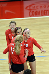 12 October 2013:  Ashley Rosch, Emily Schneider, Brooklyn Hlafka, and Kaitlyn Early during an NCAA womens volleyball match between the Missouri State Bears and the Illinois State Redbirds at Redbird Arena in Normal IL