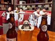 China, Sichuan. Chengdu. Kuan Zhai Alleys 宽窄巷子. Panda bear, erh, beer: Panda Brew Outlaw Witbier.