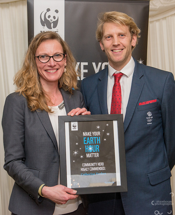 Andrew Triggs Hodge OBE presenting Community Award  Highly Commended to Catherine Fookes during the WWF UK Earth Hour 10th Anniversary Parliamentary Reception, Terrace Pavilion, Palace of Westminster. 28th Feb. 2017