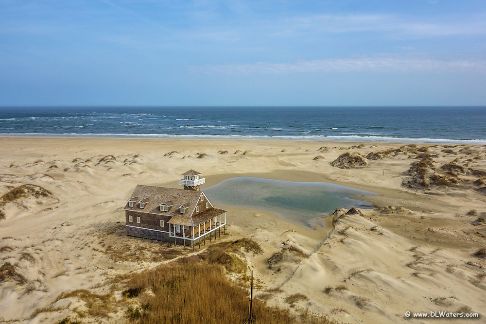 Aerial photograph of the life saving station at Oregan Inlet on the Outer Banks.