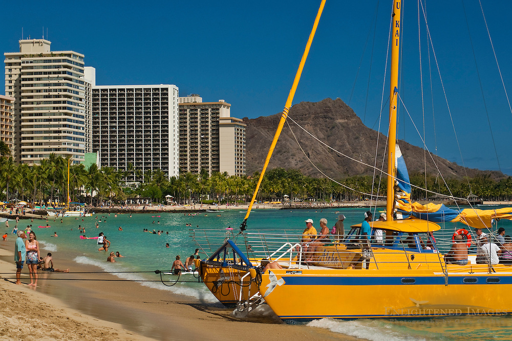 Tourist catamaran boat, Waikiki Beach, Honolulu, Oahu, Hawaii
