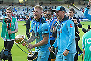 Ben Stokes of England and Jason Roy of England celebrating on the lap of honour after winning the Cricket World Cup during the ICC Cricket World Cup 2019 Final match between New Zealand and England at Lord's Cricket Ground, St John's Wood, United Kingdom on 14 July 2019.
