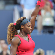 Serena Williams, USA, celebrates her victory over Li Na, China, in the Women's Singles Semi Final at the US Open. Flushing. New York, USA. 6th September 2013. Photo Tim Clayton