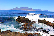 A view from Robbens Island of the Table Mountain area in Cape Town, South Africa.  Photograph by Dennis Brack...