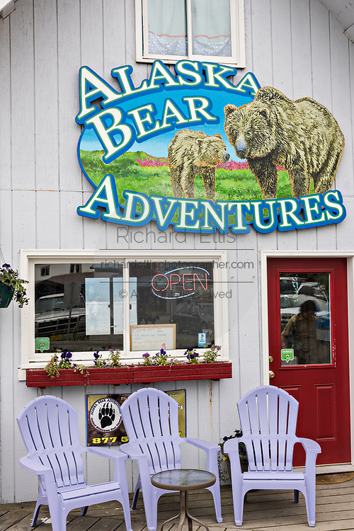 Alaskan bear sightseeing shop along the marsh boardwalk on Homer Spit on Kamishak Bay in Homer, Alaska.