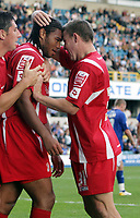 Photo: Rich Eaton.<br /> <br /> Millwall v Swindon Town. Coca Cola League 1. 29/09/2007. Swindon's Jerel Ifil (L) celebrates after heading in a second half goal to make it 2-1 with fellow goalscorer Simon Cox (R)