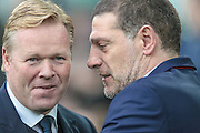 Ronald Koeman (Manager)(Everton) and Slaven Bilic (Manager) (West Ham United) before the Premier League match between Everton and West Ham United at Goodison Park, Liverpool, England on 30 October 2016. Photo by Mark P Doherty.