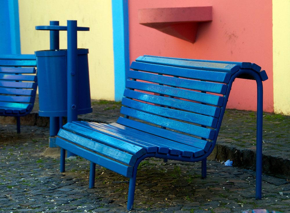 Bench on Caminito Street, Caminito is a tourist attraction in Buenos Aires, Argentina.