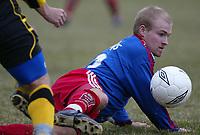 Fotball. 1. divisjon 14. april 2002. Tollnes - Tromsdalen i Skien. Tobias Appelbom, Tromsdalen.<br /> <br /> Foto: Andreas Fadum, Digitalsport.