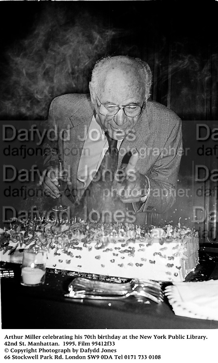 Arthur Miller celebrating his 70th birthday at the New York Public Library. 1995. Film 95412f33<br /> © Copyright Photograph by Dafydd Jones<br /> 66 Stockwell Park Rd. London SW9 0DA<br /> Tel 0171 733 0108