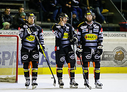 01.01.2017, Messestadion, Dornbirn, AUT, EBEL, Dornbirner Eishockey Club vs EC VSV, 38. Runde, im Bild v. l. Brock McBride, (Dornbirner Eishockey Club, #86), Chris D'Alvise, (Dornbirner Eishockey Club, #15) und Kevin Schmidt, (Dornbirner Eishockey Club, #10) // during the Erste Bank Icehockey League 38th round match between Dornbirner Eishockey Club and EC VSV at the Messestadion in Dornbirn, Austria on 2017/01/01, EXPA Pictures © 2017, PhotoCredit: EXPA/ Peter Rinderer
