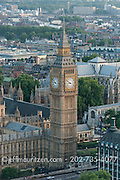 Aerial view of the Elizabeth tower, Big Ben and the Houses of Parliament in London, England.