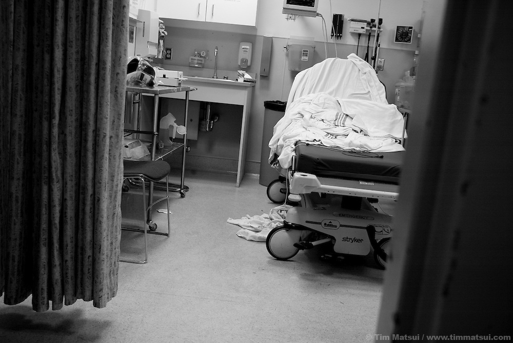 A recently vacated bed in the Harborview Emergency Room in Seattle.