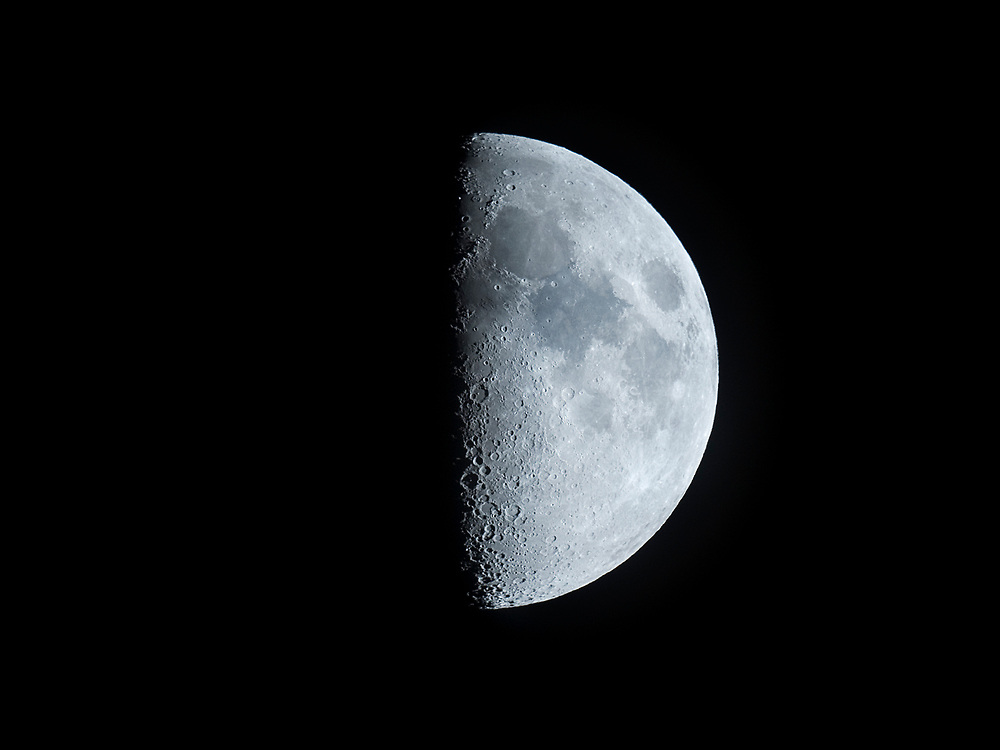 The moon just nine and a half hours after first quarter.  July, 2017.