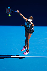 January 20, 2019 - Melbourne, VIC, U.S. - MELBOURNE, VIC - JANUARY 19: MADISON KEYS (USA) during day six match of the 2019 Australian Open on January 19, 2019 at Melbourne Park Tennis Centre Melbourne, Australia (Photo by Chaz Niell/Icon Sportswire) (Credit Image: © Chaz Niell/Icon SMI via ZUMA Press)