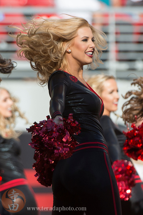 November 29, 2015; Santa Clara, CA, USA; San Francisco 49ers Gold Rush cheerleader Brooke performs during the second quarter against the Arizona Cardinals at Levi's Stadium. The Cardinals defeated the 49ers 19-13.