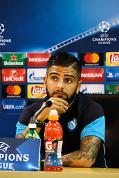 Aug 15, 2017 - Naples, Italy - At Castelvolturno where Napoli is home to training this afternoon there was the pre-conference with Nice that will take place tomorrow at the San Paolo valley stadium for the Play Off of the Champions League.; The conference was attended by Mr. Maurizio Sassri and the flag of the Lorenzo Insigne team; both of whom are very confident about the transition to the European trophy; Conferenza stampa calcio Napoli. (Credit Image: © Fabio Sasso via ZUMA Wire)