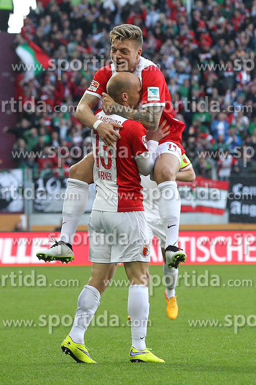 18.04.2015, SGL Arena, Augsburg, GER, 1. FBL, FC Augsburg vs VfB Stuttgart, 29. Runde, im Bild l-r: Torjubel von Tobias Werner #13 (FC Augsburg) und Alexander Esswein #11 (FC Augsburg)r // during the German Bundesliga 29th round match between FC Augsburg and VfB Stuttgart at the SGL Arena in Augsburg, Germany on 2015/04/18. EXPA Pictures &copy; 2015, PhotoCredit: EXPA/ Eibner-Pressefoto/ Kolbert<br /> <br /> *****ATTENTION - OUT of GER*****