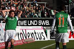 06.03.2010, Weserstadion, Bremen, GER, 1. FBL, Werder Bremen vs VfB Stuttgart 2:2 (0:2), Spieltag 25, im Bild Sebastian Prödl (Proedl AUT Werder #15) und Mesut Özil (Oezil GER Werder #11). EXPA Pictures © 2010, PhotoCredit: EXPA/ nph/  Arend / for Slovenia SPORTIDA PHOTO AGENCY.