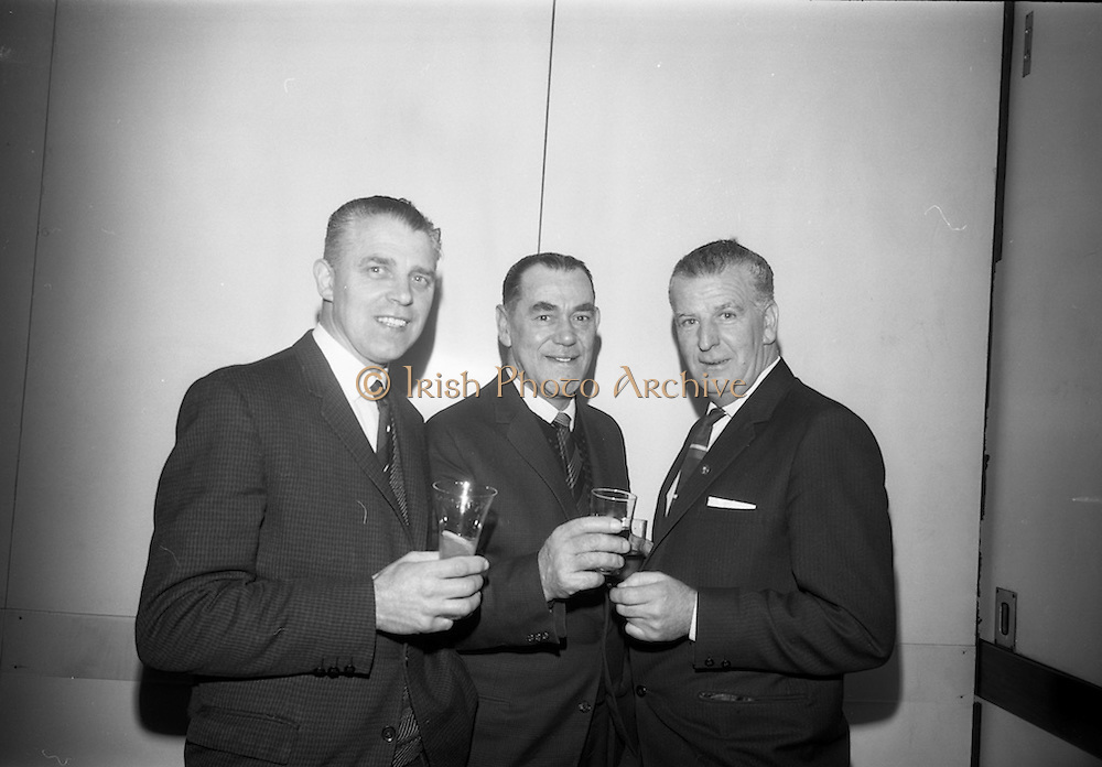21/12/1965<br /> 12/21/1965<br /> 21 December 1965<br /> <br /> Castro Annual Lunch at Intercontinental Hotel<br /> <br /> Mr. William Evans (Foreman 31 years of service); Mr. Jimmy Keely(Service Department Foreman 35 years of service) and Mr. William Teeling( Assistant Works Foreman 31 years of service) chatting at the luncheon