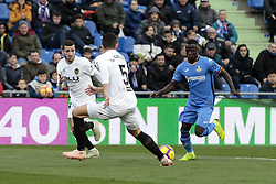 November 10, 2018 - Getafe, Madrid, Spain - Getafe CF's Amath Ndiaye and Valencia CF's Gabriel Armando de Abreu Paulista during La Liga match between Getafe CF and Valencia CF at Coliseum Alfonso Perez in Getafe, Spain. November 10, 2018. (Credit Image: © A. Ware/NurPhoto via ZUMA Press)