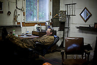 Blacksmith Arnon Kartmazov in Portland, Oregon. He makes chef's knives in his forge.