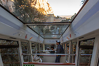 The view from inside the funicular at Montserrat, a Benedictine monastery on the outskirts of Barcelona, Spain