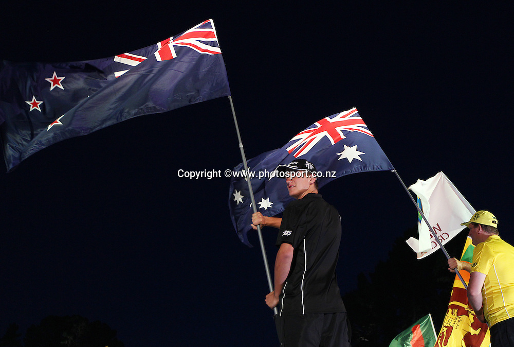 The New Zealand and Australian flag on stage during the ICC Cricket World Cup Opening Ceremony venue staged in Hagley Park, Christchurch. 12 February 2015 Photo: Joseph Johnson / www.photosport.co.nz