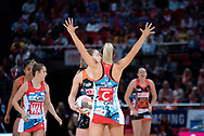 SYDNEY, NSW - JUNE 16: Sophie Halpin of the Swifts defends the ball during the round 8 Super Netball match between the Sydney Swifts and the Giants at Qudos Bank Arena on June 16, 2019 in Sydney, Australia.(Photo by Speed Media/Icon Sportswire)