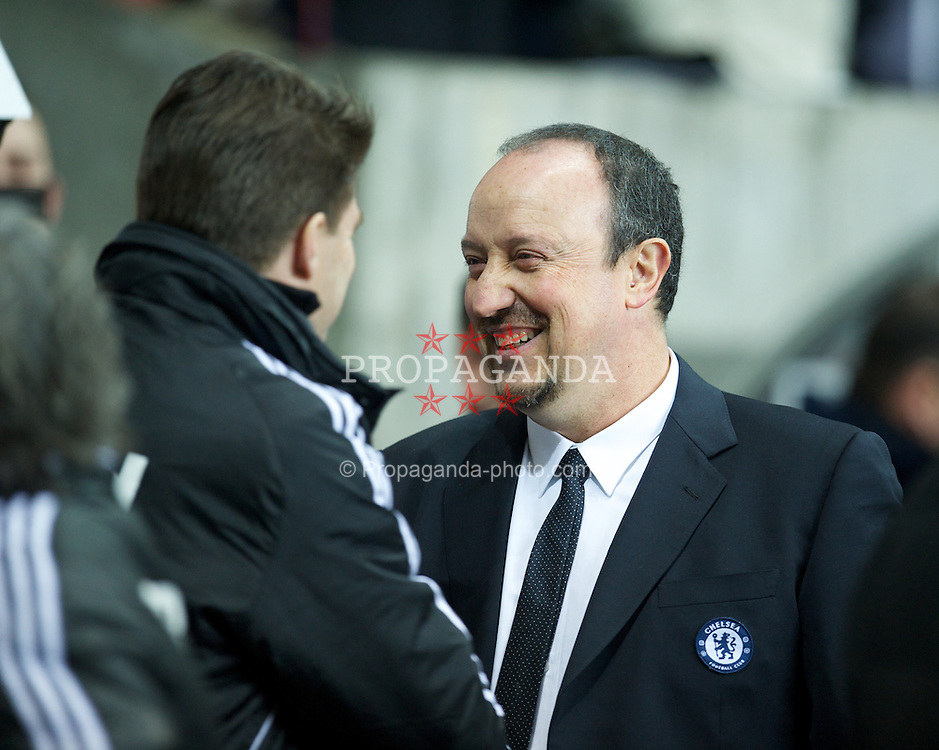 SWANSEA, WALES - Wednesday, January 23, 2013: Chelsea's manager Rafael Benitez and Swansea City's manager Brian Laudrup during the Football League Cup Semi-Final 2nd Leg match at the Liberty Stadium. (Pic by David Rawcliffe/Propaganda)
