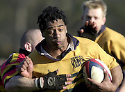 © Peter Spurrier/ Intersport-Images.Photo Peter Spurrier.15/03/2003.Sport - Rugby  National League Div 2 Henley v Harrogate.Ali James breaks through the Harrogate defence to run in a first half try.