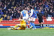 Blackburn Rovers celebrate going 1-0 up during the Sky Bet Championship match between Blackburn Rovers and Preston North End at Ewood Park, Blackburn, England on 2 April 2016. Photo by Pete Burns.