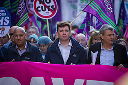 "© Licensed to London News Pictures . 29/09/2013 . Manchester , UK . ANDY BURNHAM , MP for Leigh and Shadow Secretary of State for Health at the front of the march . A Unison lead demonstration titled "" Save our NHS "" through Manchester City Centre today (Sunday 29th September 2013) coinciding with the Conservative Party Conference in the city . Photo credit : Joel Goodman/LNP"