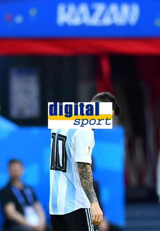 Soccer Football - World Cup - Round of 16 - France vs Argentina - Kazan Arena, Kazan, Russia - June 30, 2018 Argentina s Lionel Messi reacts FOOTBALL : France vs Argentine - Coupe du Monde 2018 - Kazan - 30/06/2018 AI/Reuters/Panoramic PUBLICATIONxNOTxINxFRAxITAxBEL AI