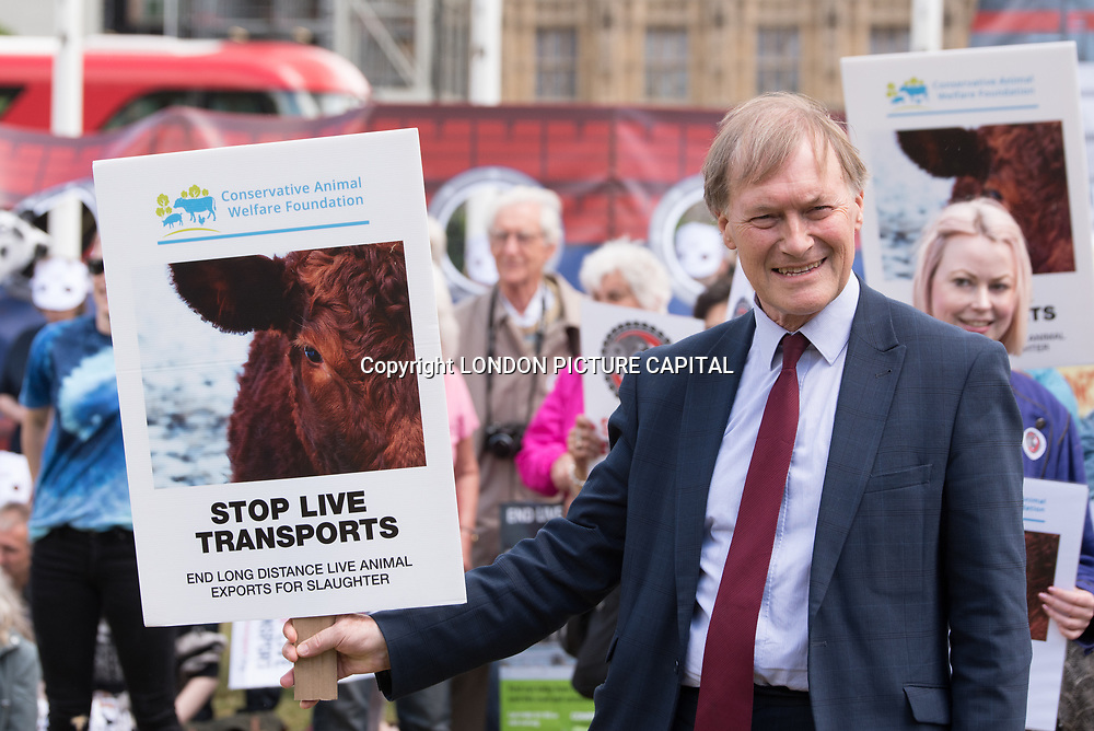 Speaker David Amess MP rally to STOP Live Transport 2018 unnecessary suffering in Parliament Square June 14 2018, London, UK.